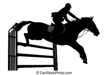 A silhouette of a horse jumping.