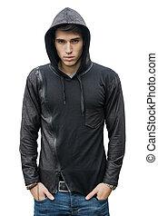 jumper, unge, isoleret, sort, hoodie, hvid, mand, pæn