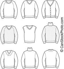 Jumper - Vector illustration. Set of men's knitted jumpers