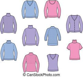 Jumper - Vector illustration. Set of women's jumpers....