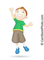 Jumping 3d Boy - illustration of jumping 3d boy in vector