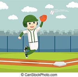 jumping and catch a baseball
