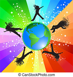 Jumping around the world - Happy girls jumping around the...
