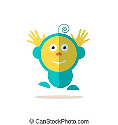 Jumping Baby. Funky Vector Flat Avatar Isolated.