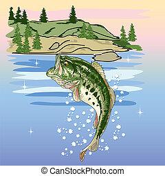 Jumping Bass at the Lake - jumping bass at the lake vector...