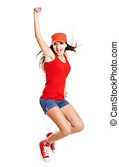 Jumping - Beautiful teenage girl jumping of happiness...