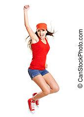 Jumping - Beautiful teenage girl jumping of happiness ...