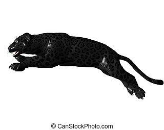 Jumping black panther - 3D rendered image of Black panther...