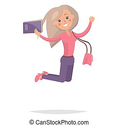 Jumping Blond Girl Student with Book Illustration