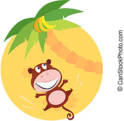 Jumping brown monkey - Vector cartoon illustration of funny ...