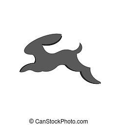 Jumping bunny rabbit, sign logo vector abstract minimalism flat illustrations