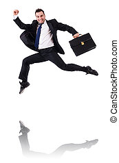 Jumping businessman isolated on the white