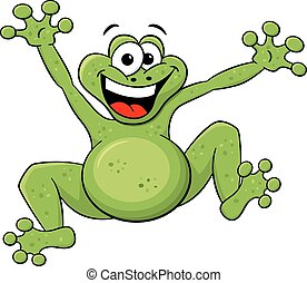 jumping cartoon frog isolated on white