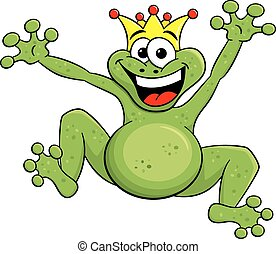 jumping cartoon frog prince isolated on white
