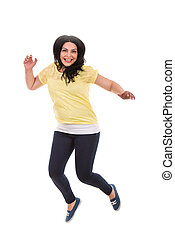 Jumping casual woman