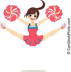 Jumping Cheerleader Girl - Young teenage cheerleader girl...