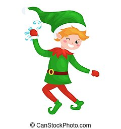 Jumping Christmas elf isolated with sweets in a green suit with, assistant of Santa Claus, boy helper holding candy for happy new year