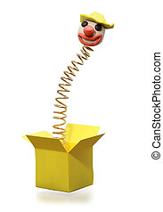 Metal spring with clown head jumping from yellow box