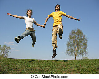 jumping couple. spring