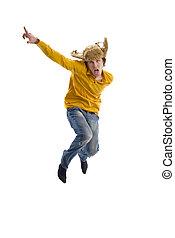 Jumping crazy boy