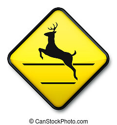 Jumping Deer Crossing Sign