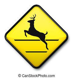 Jumping Deer Crossing Sign