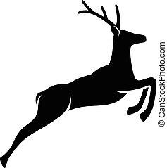 Jumping Deer - Vector silhouette