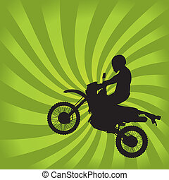 Jumping Dirt Bike Silhouette on a Green Swirl Background