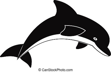 Jumping dolphin icon, simple style