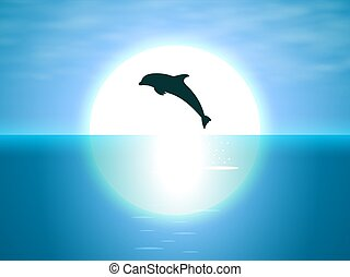Jumping dolphin on the background of the moon