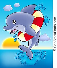 Jumping dolphin with inflatable ring - color illustration.