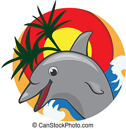 Jumping dolphin with palms and a sun color vector ...