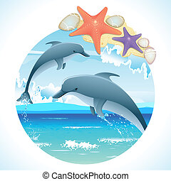 Jumping Dolphins - illustration of pair of jumping dolphin...