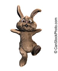 jumping easter bunny - 3d rendered illustration of an...