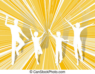 Jumping family - Family silhouette dancing and jumping for...