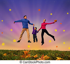 jumping family with boy on autumnal meadow collage