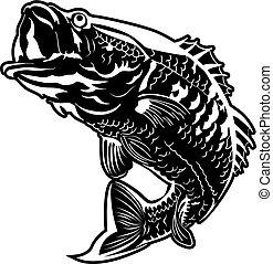 Jumping Fish vector - Vector illustration of a black bass...