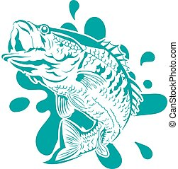 Vector illustration of a black bass fish jumping