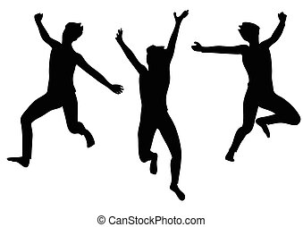 jumping for joy. set of abstract silhouette isolated on...