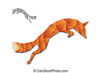 Jumping fox made of triangles