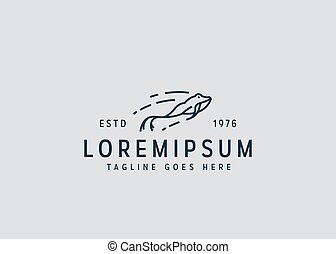 Jumping frog logo design. Vector illustration of leaping frog. Vintage logo design with line art icon style.