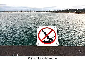 jumping from pier in Santa Barbara is forbidden