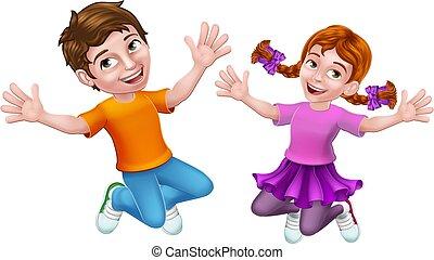 Jumping Girl and Boy Kids Children Cartoon