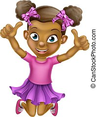 Jumping Girl b 2015 tu F5 - Happy cartoon young black girl...