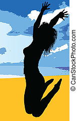 jumping girl black silhouette