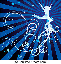 jumping girl blue vector curves