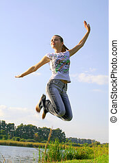 jumping girl in the sky
