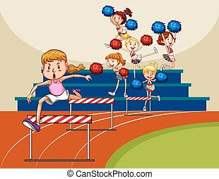 Girl jumping over obstacles in the field
