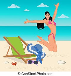 jumping girl on the beach, vector illustration