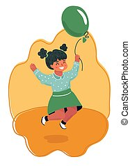 Jumping Girl with air balloon